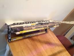 goalie stick shelf made out of recycled hockey sticks hockey