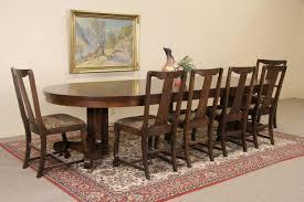 sold oak 4 u0027 round 1900 antique pedestal dining table 6 leaves