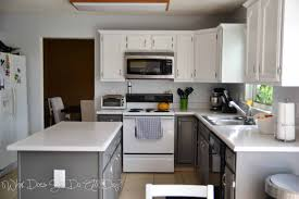 Painted Kitchen Ideas by Stained Lower Cabinets Painted Upper Cabinets Lower Cabinets