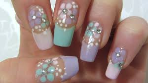 video nail tutorial easy floral design in pastel colors with