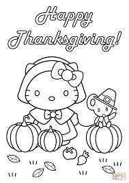 kitty happy thanksgiving coloring free printable