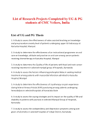 List of Research Projects Completed by UG  amp  PG students of CMC Vellore  IndiaList of     SlideShare