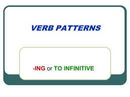 VERB PATTERNS  ING or TO INFINITIVE Verbs followed by  ing admit adore appreciate avoid