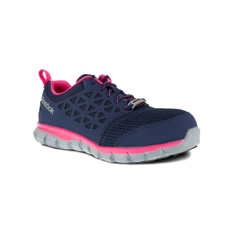 Reebok Work Sublite Cushion Work Alloy Toe Athletic Oxford Sneakers, Navy/pink Blue