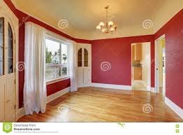 empty red dining room interior with built in cabinets stock photo