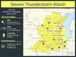 Wisconsin Weather Map by Severe Thunderstorm Watch Issued For Most Of Wisconsin Until 8