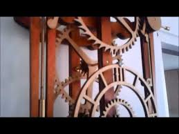 Free Wooden Clock Plans Dxf by My First Wooden Mechanical Clock Youtube