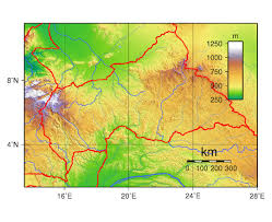 Physical Map Of Africa by Maps Of Central African Republic Detailed Map Of Central African