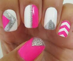 step by step guide of blue and pink v effect nail art