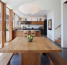 Modern Wooden Kitchen And Dining Area Contains Timber Dining Table - Timber kitchen table
