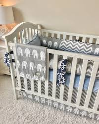 crib bedding grey elephants chevron baby blue and navy