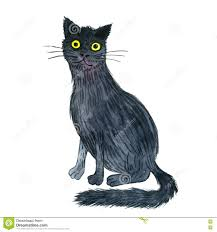watercolor black cat stock illustration image 75362778