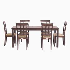 Buy Rubber Wood Furniture Bangalore Godrej Interio Leo U0026 Lisa Dining Set Solid Wood 6 Seater Dining