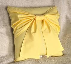 yellow bow pillow decorative pillow