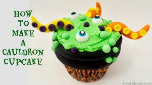 how to make a cauldron cupcake for halloween she who bakes