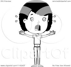 cartoon clipart of a black and white scared adolescent teenage