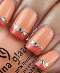 orange glitter nails nail art designs shiny decorated nails