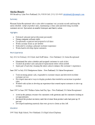 Sample Of Receptionist Resume by Free Salon Receptionist Resume Template Sample Ms Word