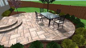 stylish stamped concrete patio steps on random pattern floor tiles