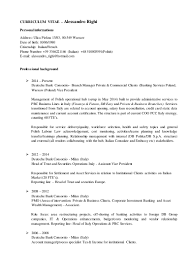 Sample Investment Banking Analyst Resume Cv Alessandro Righi