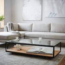 Display Coffee Table Industrial Display Coffee Table West Elm Living Room