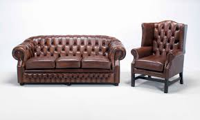 Leather Chairs Living Room by Decor Wingback Leather Chair And Chesterfield Couch For Living
