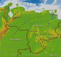 Physical Map Of South America by Venezuela Physical Map
