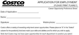 Resume Application For Job by Costco Job Application Printable Job Employment Forms
