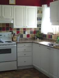 kitchen colourful themed design in cheap backsplash ideas with kitchen contemporary cheap backsplash ideas with combination of red black and yellow colored square
