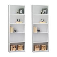 4 Shelf Bookcase White by Amazon Com Ameriwood 5 Shelf Bookcase Set Of 2 White Kitchen
