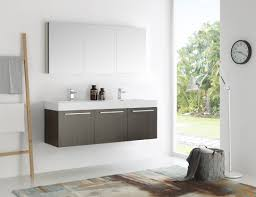 mezzo 60 inch gray oak wall mounted double sink modern bathroom vanity