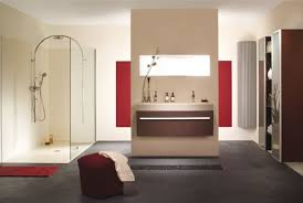Elegant European Bathroom Design with red and cream color combination