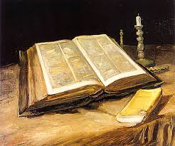 still life with open bible candlestick and novel Ahn Sahng Hong, Who Proclaim The True Gospelahnsahnghong