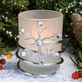 Snowflake Candle w- Clear Stones