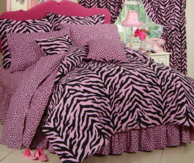 Pink and Black Queen Zebra Print Bed in