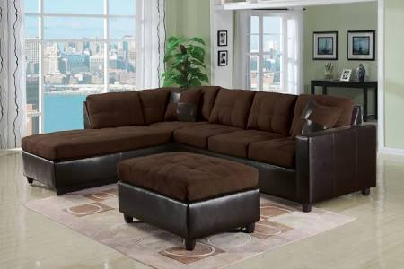 Chocolate Microfiber Sectional Sofa with