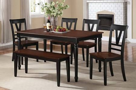 Poundex Rectangular Cherry Black Dining