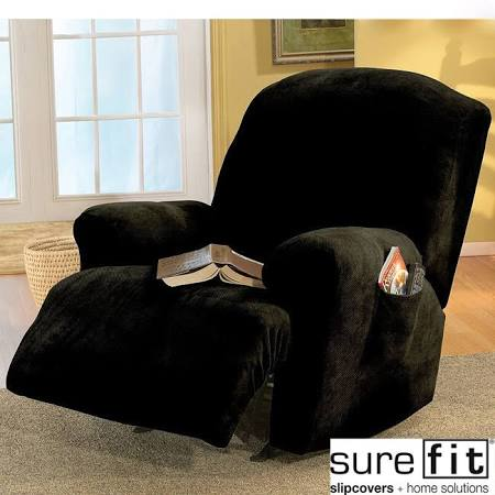Stretch Pique Recliner Slipcover Black