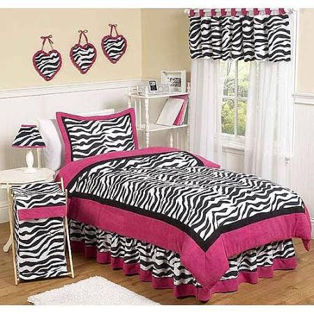 Pink Zebra Twin Bedding Set
