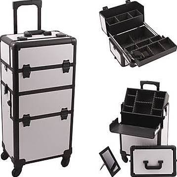 White Pro 4-Wheel Makeup Case