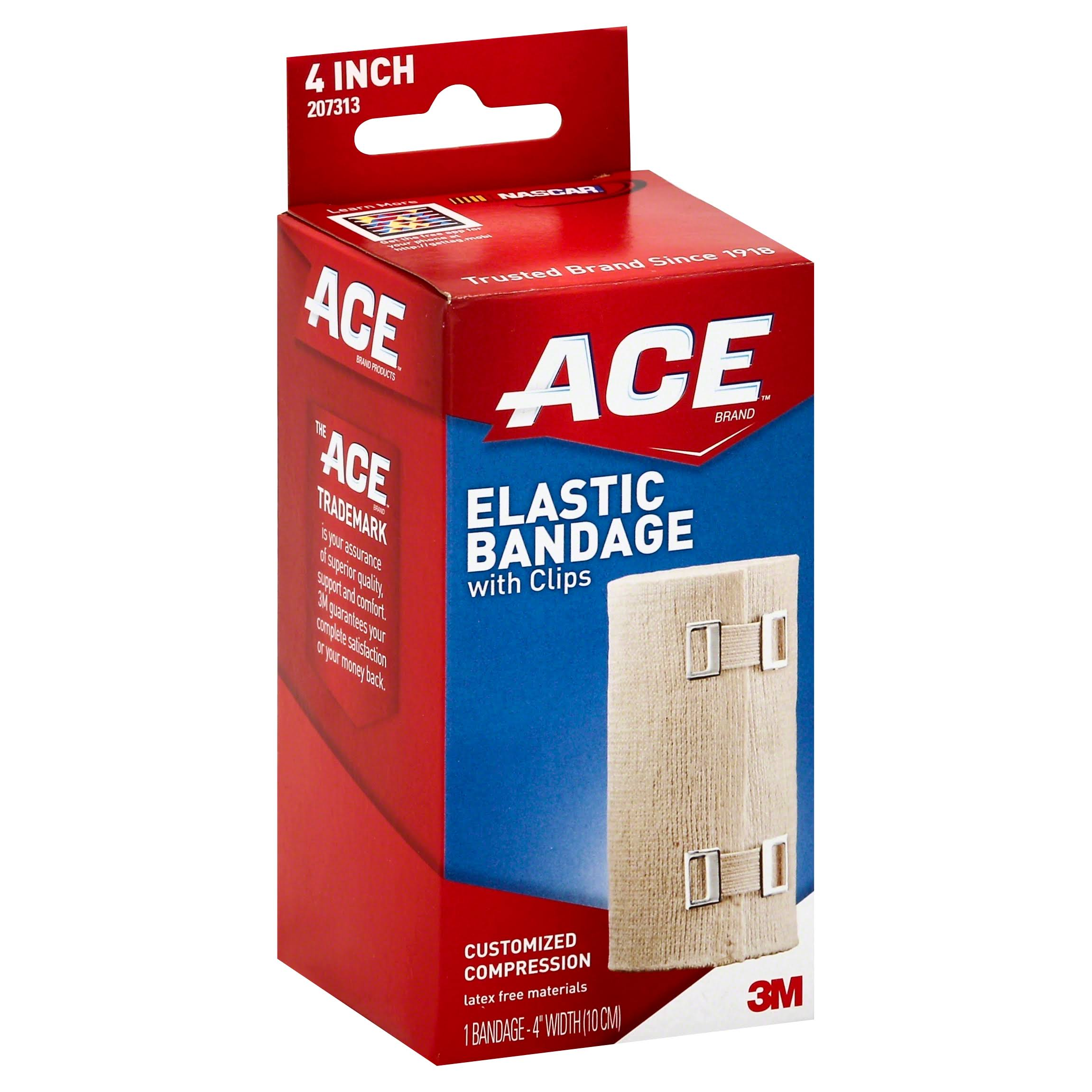Ace 3M Elastic Bandage - with Clips, 4""