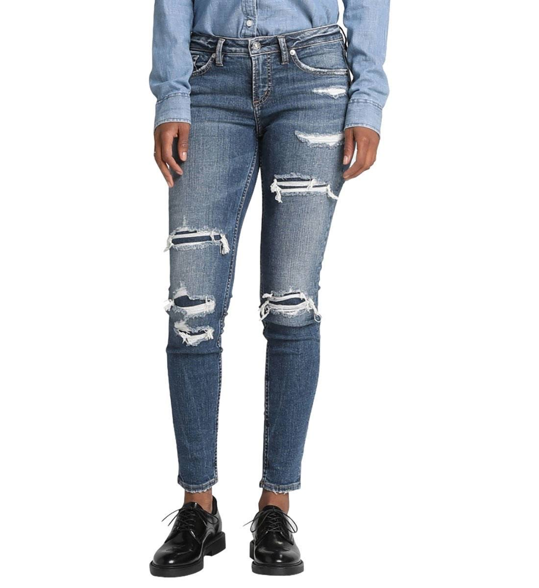 Silver Jeans Co. Aiko Destructed Skinny Jeans - Indigo 32 29
