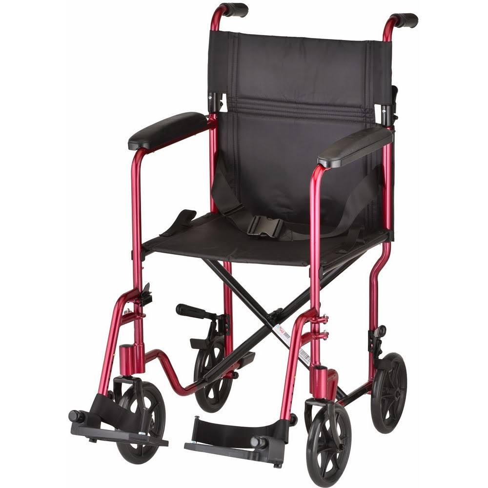 Nova Lightweight Transport Chair - Red, 19""