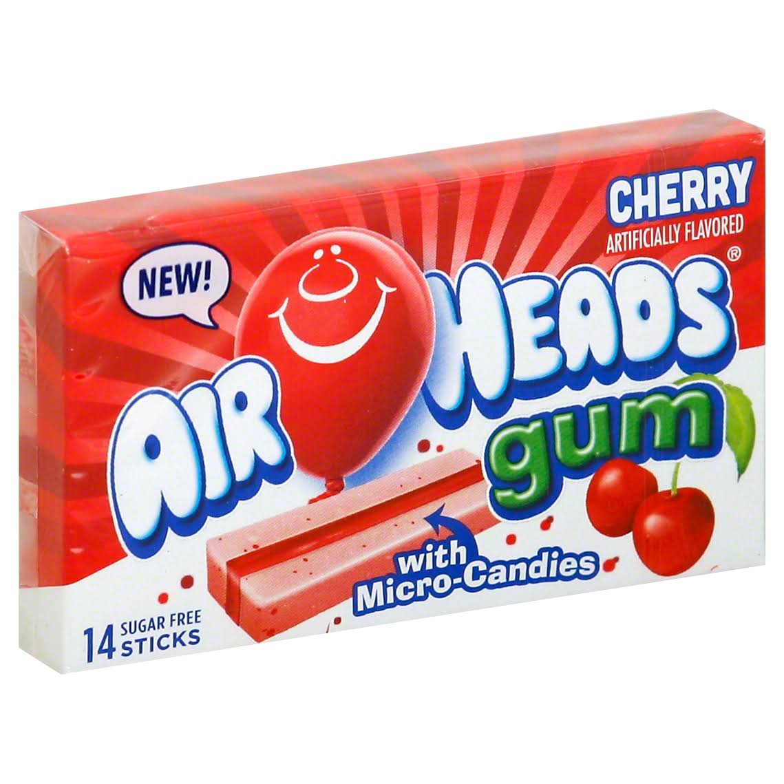 Airheads Gum Sugar-Free Sticks - Cherry, 14pcs