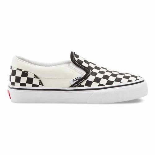 Vans Classic Slip on Checkerboard Shoes - Black and White, 12 US Youth