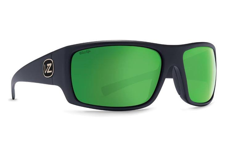 VonZipper Suplex Sunglasses, Black Satin/Green Chrome Glass Polarized