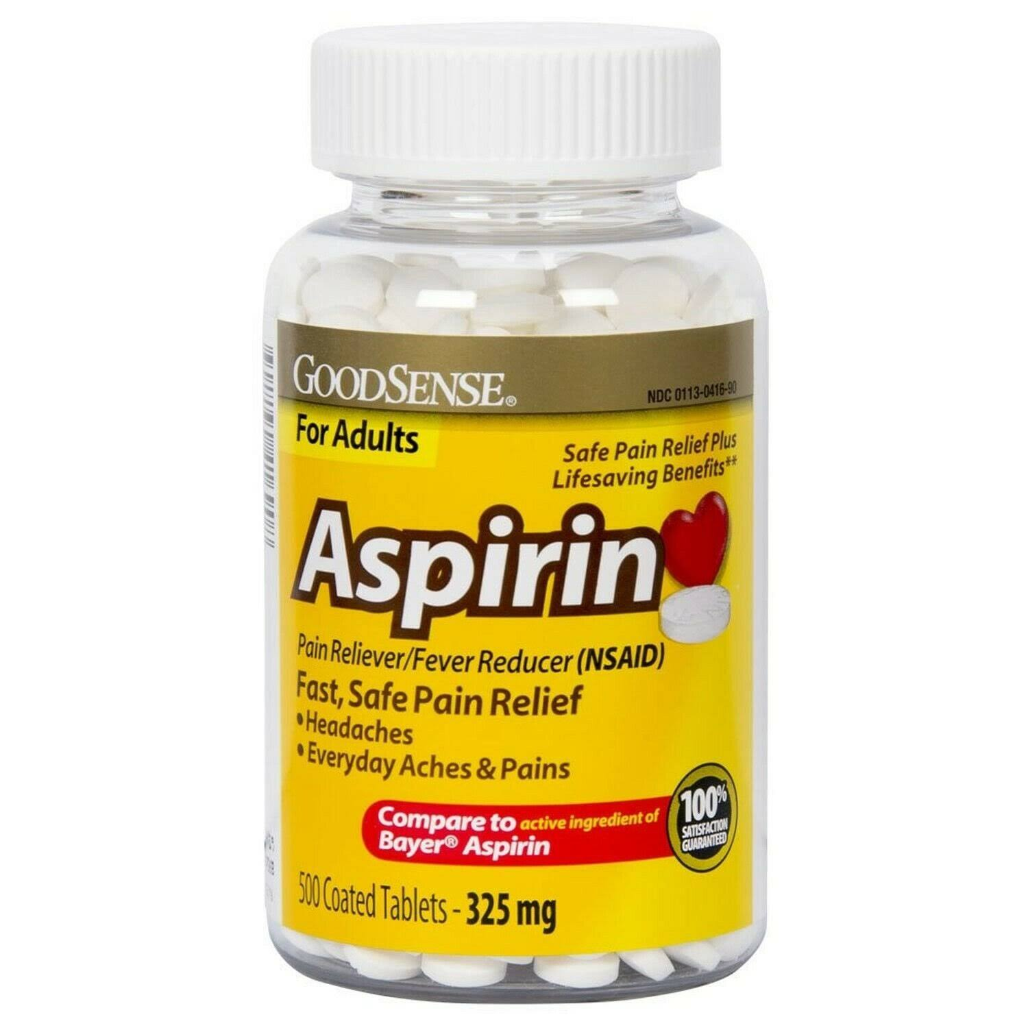 Good Sense Coated Aspirin Pain Reliever Tablet - 325mg, 500ct