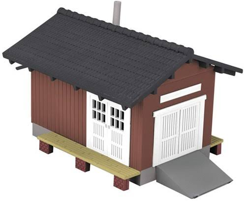 MTH Railking Country Freight Station Miniature Model Kit - Red and Black, 0 Gauge
