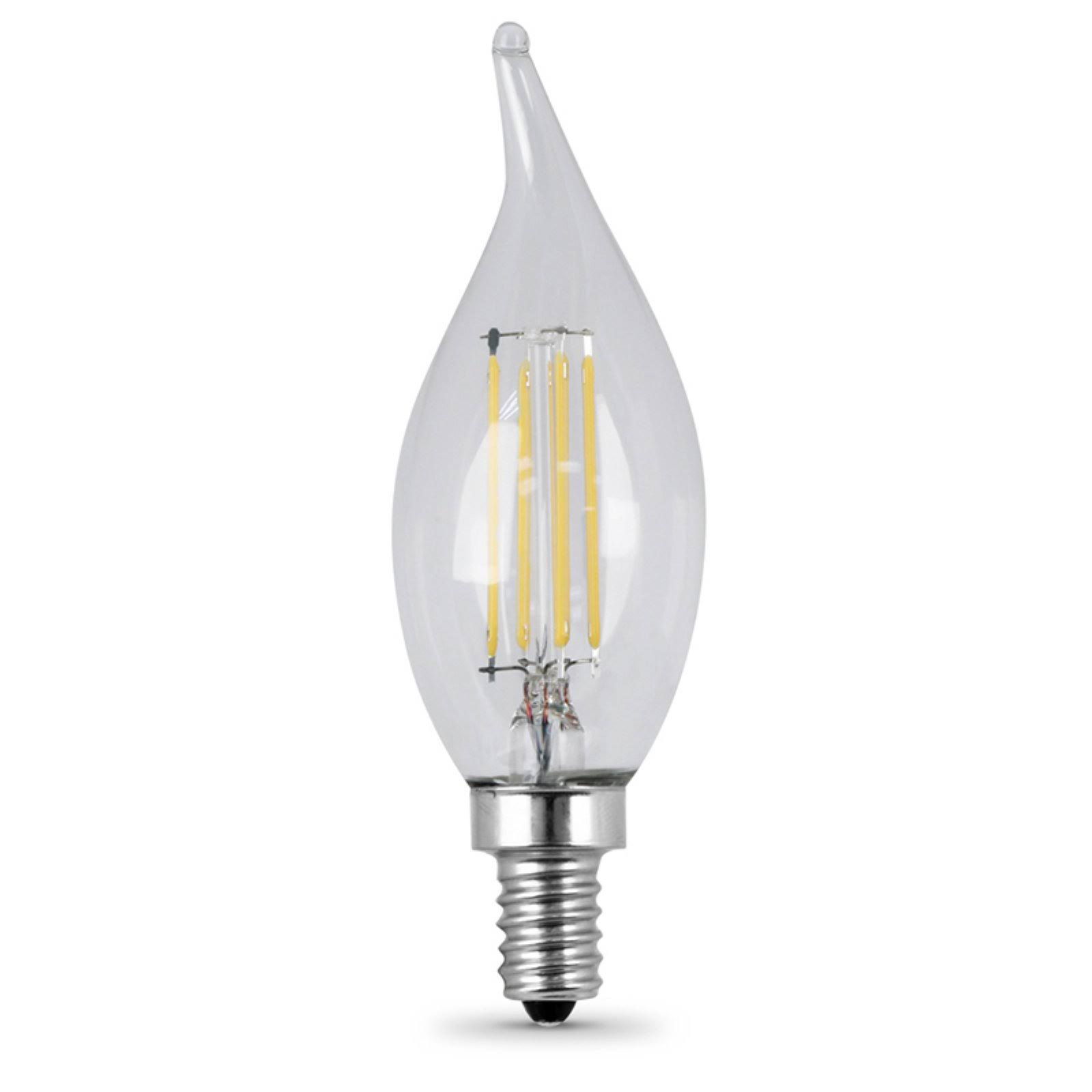 Feit Dimmable Filament LED Decorative Light Bulb - 25W, Bent Tip, Candelabra Base, 2 Pack, Clear