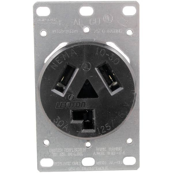 Leviton R20-05207-s10 Electrical Receptacle - Black, 30 Amp